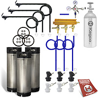 Three Keg Homebrew Party Kegerator Kit - Ball Lock