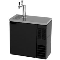 Dual Faucet Slim Black Kegerator Keg Beer Dispenser
