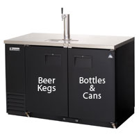 Back Bar & Direct Draw Commercial Keg Refrigerator with All Solid Doors