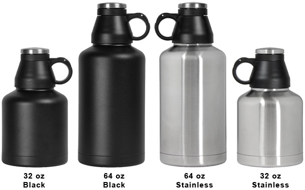 1 Photo of 72 Screw Cap Customizable Beer Growlers - 32 oz Double Wall Stainless Steel with Brushed Finish