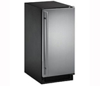 U-Line CLR2160S-41 2000 Series Black Cabinet with Stainless Steel Door Clear Ice Maker w/ Drain Pump - Left Hinge