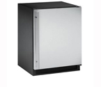 U-Line CLRCO2175S-40 2000 Series Clear Ice Maker / Refrigerator - Black Cabinet with Stainless Steel Door - Right Hand Hinge - Drain Pump