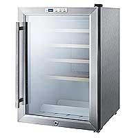 Summit SWC1530 28-Bottle Built-in Wine Cooler Refrigerator with Stainless Steel Door Trim