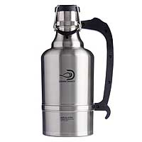 The Juggernaut - 128 oz Vacuum Insulated Beer Growler - Brushed Stainless Steel