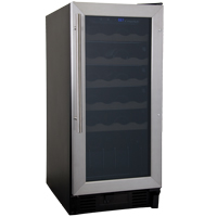 26 Bottle Built-in Wine Refrigerator with Stainless Steel Door
