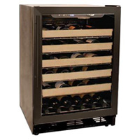 50 Bottle Black Built-in Wine Refrigerator