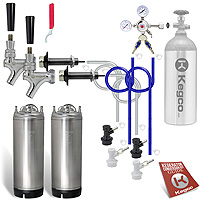 Two Keg Door Mount Homebrew Kegerator Kit Ball Lock - New Kegs