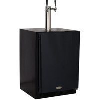 Kegerator Cabinet with X-CLUSIVE 2 Faucet D System Keg Tapping Kit - Black