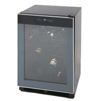 52-Bottle Wine Chiller - Black Cabinet and Platinum Frame Glass Door