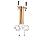 Polished PVD Brass Dual Faucet Draft Beer Tower - 3-Inch Column