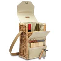 Corsica Willow & Canvas Wine & Cheese Basket - Natural Canvas