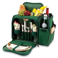 Malibu Tote Cooler for Two - Hunter Green / Purple Grape Linens