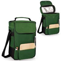 Duet Insulated Wine & Cheese Tote - Hunter Green w/Black Trim