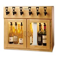Sonoma 6 Bottle Wine Dispenser Preservation Unit - Oak