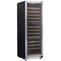 143-Bottle Triple Zone Wine Chiller - Black Cabinet and Stainless Steel Frame Glass Door