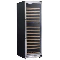 154-Bottle Dual Zone Wine Chiller - Black Cabinet and Stainless Steel Frame Glass Door