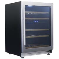 43-Bottle Designer Series Dual Zone Wine Chiller - Black Cabinet and Stainless Steel Frame Glass Door
