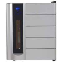 13-Bottle Wine Chiller, Preserver, and Dispenser - Black Cabinet and Platinum Finish Door