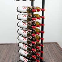 Free Standing 27 Bottle Point of Purchase Wine Display - Brushed Nickel Finish