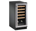 U-Line Origins 1115WCS-00 Wine Captain 24-Bottle Wine Cooler - Brushed Aluminum Door Trim, Right-Hand Door Hinge