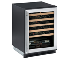 U-Line 1175WCS-00 1000 Series 48 Bottle Wine Cellar - Black Cabinet with Stainless Steel Glass Door - Field Reversible