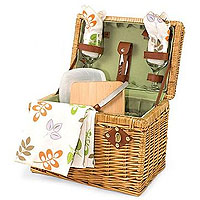 Napa-Botanica Picnic Basket - Hunter Green Lining w/ Purple Grape Linens