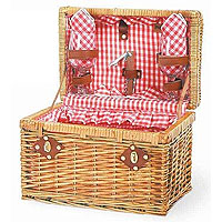 Chardonnay Willow Picnic Basket - Red Check Lining & Napkins
