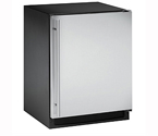 U-Line 2175RFS-01 2000 Series Frost-Free Refrigerator / Freezer - Black Cabinet with Stainless Steel Door - Left Hinge