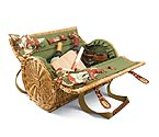 Verona Wine & Cheese Barrel Basket - Pine Green w/ Nouveau Grape Napkins