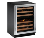 U-Line 2224ZWCS-00A Dual Zone 43 Bottle Wine Refrigerator - Black Cabinet with Stainless Steel Glass Door - Right Hinge