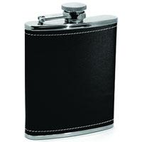 Metrokane 2604 Houdini Pocket Flask - Black Stainless Steel with waterproof faux leather