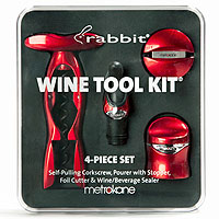 Metrokane 2725 4-Piece Rabbit Wine Tool Kit-Metallic Red