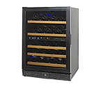N'Finity 50 Bottle Wine Cellar Refrigerator - Black Cabinet with Black Door - Left Hinge Door