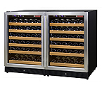 Allavino 2X-MWR-541-SS 102 Bottle Dual Zone Wine Cooler Refrigerator - Black Cabinet with Stainless Steel Doors