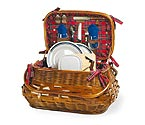 Sandringham Bamboo & Rattan Picnic Basket for Two