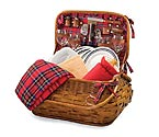 Picnic Time Highlander Bamboo & Rattan Picnic Basket for Four