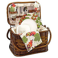 Romance Bamboo & Rattan Picnic Basket for Two