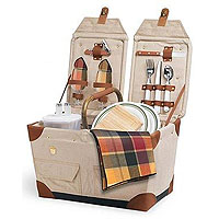 Pioneer Canvas & Rattan Picnic Basket - Natural w/ Burgundy Plaid Linens
