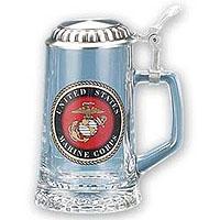US Marines Glass Beer Stein