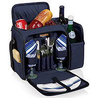 Malibu Tote Cooler for Two - Navy / Burgundy Plaid Linens