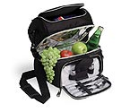 Picnic Time Pranzo Deluxe Lunch Cooler - Black w/ Silver Trim