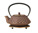 BonJour 53786 Cast Iron Teapot with Stainless Steel Infuser and Matching Trivet, Hob Nail Design - 27 oz.