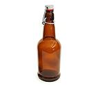 EZ Cap 1 Liter Flip-Top Home Brew Beer Bottles - Amber (Case of 12)