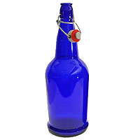 EZ Cap 1 Liter Flip-Top Home Brew Beer Bottles - Blue (Case of 12)