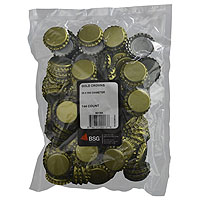 Plain Gold Beer Bottle Crowns (144 Count)