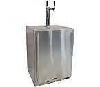 Marvel 60HK-SS-B-LR-X2D All Stainless Steel Outdoor Kegerator Cabinet with BeverageFactory.com X-CLUSIVE 2 Faucet D System Tapping Kit