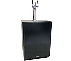 Marvel ML24BNS1RB-X3HB Kegerator Cabinet with BeverageFactory.com X-CLUSIVE 3 Faucet Home Brew Keg Tapping Kit - Black Cabinet with Black Door
