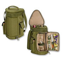 Meritage Insulated Wine & Cheese Tote - Olive Green/Tan
