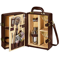 Manhattan Portable Cocktail Service - Mahogany & Tan