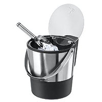 Double Wall Ice Bucket with Flip Top Lid and Stainless Steel Ice Scoop